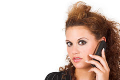 Business lady speaking on cell phone Royalty Free Stock Photos