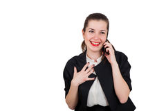 Business lady talking over mobile phone, smiling happily. Laughing, red lips, isolated on white Stock Photo