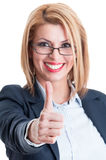 Business lady thumb up Royalty Free Stock Photo