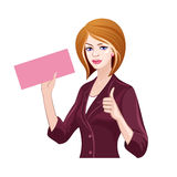 Business lady thumbs up Stock Images
