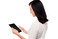 Business lady using tablet pc device Stock Photos