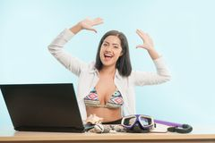 Business lady wants to have a rest Royalty Free Stock Image