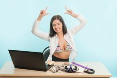 Business lady wants to have a rest Royalty Free Stock Photos