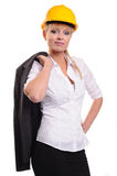 Business lady wearing safty hat Royalty Free Stock Image