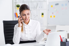 Business lady working on course of actions Stock Photography