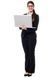 Business lady working on laptop Stock Photos