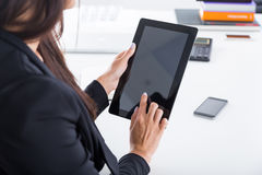 Business lady working with laptop. Close up royalty free stock photo