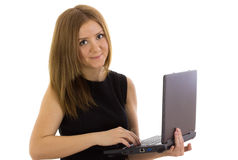 Business lady working at a laptop Royalty Free Stock Images