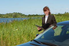 Business lady working outdoor Royalty Free Stock Photography
