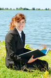 Business lady working outdoor Stock Images
