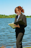 Business lady working outdoor Stock Image