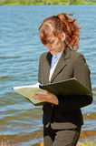 Business lady working outdoor Stock Photography