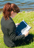 Business lady working outdoor Stock Photo