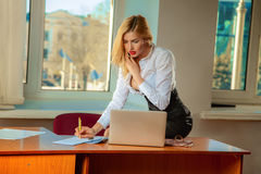 Business lady writes documents and talking phone in office Stock Photography