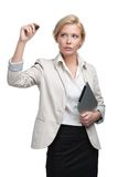 Business lady writing on the invisible screen Stock Photo