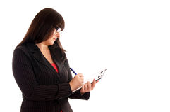 Business Lady with with writing pad Stock Photo