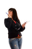 Business Lady with with writing pad Royalty Free Stock Image