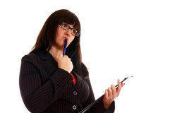 Business Lady with with writing pad Royalty Free Stock Photography