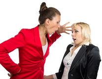 Business lady yelling at subordinate. On the white background Stock Images