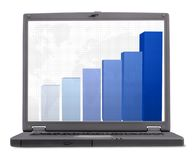 Business laptop - with column graph Royalty Free Stock Photos