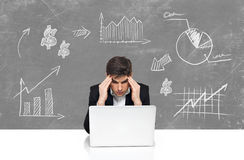 Business with laptop man brainstorming Stock Photo
