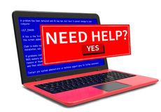 Business laptop notebook computer PC error message on blue screen Royalty Free Stock Photo