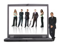 Business laptop - online team Royalty Free Stock Image
