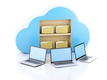 Business laptop pc. Cloud computing concept. Royalty Free Stock Image