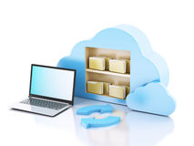 Business laptop pc. Cloud computing concept. 3d illustration. business laptop pc. storage in cloud computing concept.  on white background Stock Images