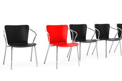 Business large meeting. Boss Chair Between other chairs. 3d rend Stock Photo