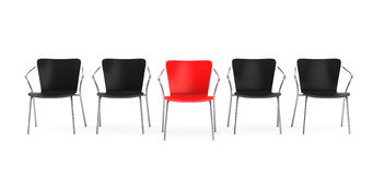 Business large meeting. Boss Chair Between other chairs. 3d rend Royalty Free Stock Photos