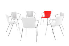 Business large meeting. Chairs arranging round with Boss Chair Stock Photo