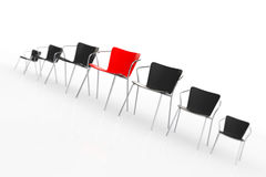 Business Large Meeting. Red Boss Chair Between other Chairs. Ren Royalty Free Stock Photos