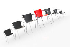Business Large Meeting. Red Boss Chair Between other Chairs. Ren Royalty Free Stock Photo