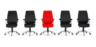 Business Large Meeting. Red Leather Boss Office Chair Between ot. Her Chairs on a white backgroundl. 3d Rendering Royalty Free Stock Images