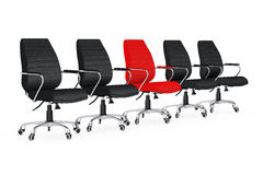Business Large Meeting. Red Leather Boss Office Chair Between ot. Her Chairs on a white backgroundl. 3d Rendering Stock Photos