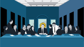 Business last supper. Illustration of a group of business men, resembling Leonardos Last Supper Royalty Free Stock Photos