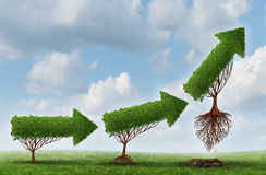 Business Launch. Success symbol as a group of trees shaped as an arrow gradually maturing lifting off upward as a metaphor for soaring profits and the Royalty Free Stock Photos