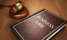 Business Law Book And Judge Gavel stock image