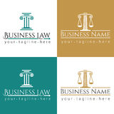 Business law logo Column. Law office logo with greece column and scales. The judge, Law firm logo template, lawyer set of vintage labels Stock Photos