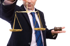 Business laws. Law concept in business with businessman, gavel and scales of justice Stock Images