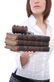 Business laws. Concept with gavel, book and businesswoman stock photography