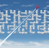 Business Leader Concept. As strategic innovative success thinking as a plane finding a short cut to a cloud maze with 3D illustration elements Stock Image