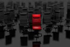 Business Leader Concept. Selected Red Chair in Front of Group of Chairs. Leading in Business Concept 3D Illustration Stock Images