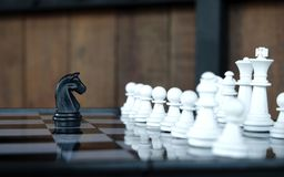Business leader and confrontation solve problems concept Chess b royalty free stock image