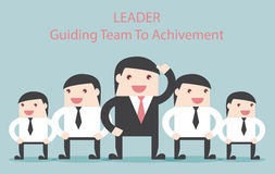 Business leader guide the team to achievement. Flat design business financial marketing concept cartoon illustration Stock Image
