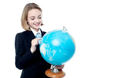 Business leader holding globe map Stock Photos