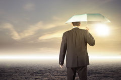 Business leader journey. Businessman walking on journey to success as a business metaphor for entrepreneurship Stock Image