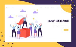 Business Leader Manager Landing Page Template. Leadership Concept. Success Businessman Character Climb Career Goal. For Website or Web Page. Flat Cartoon Vector stock illustration
