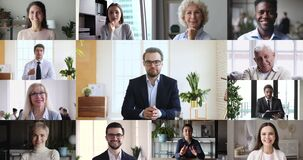 Business leader and multiracial employees group conferencing in virtual chat